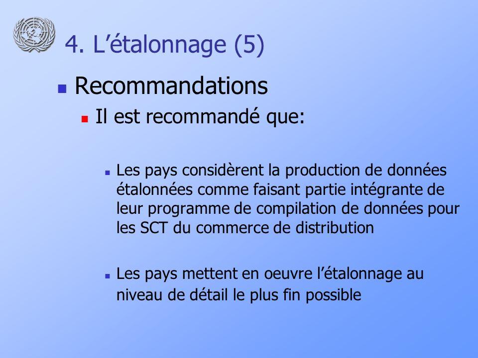 4. Létalonnage (5) Recommandations Il est recommandé que: Les pays considèrent la production de données étalonnées comme faisant partie intégrante de