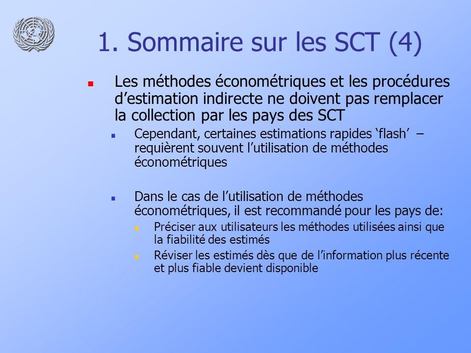 1. Sommaire sur les SCT (4) Les méthodes économétriques et les procédures destimation indirecte ne doivent pas remplacer la collection par les pays de