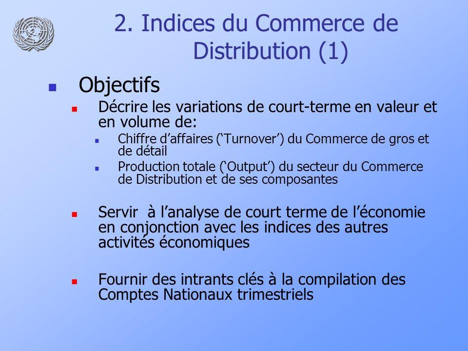 2. Indices du Commerce de Distribution (1) Objectifs Décrire les variations de court-terme en valeur et en volume de: Chiffre daffaires (Turnover) du