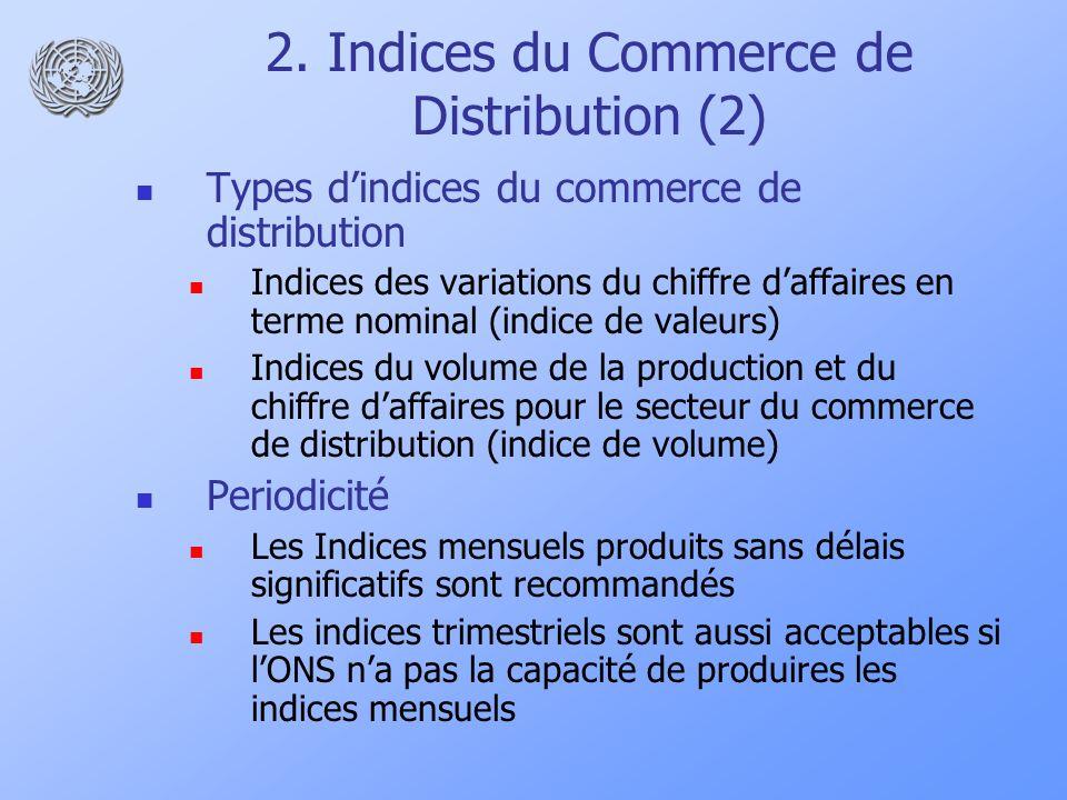 2. Indices du Commerce de Distribution (2) Types dindices du commerce de distribution Indices des variations du chiffre daffaires en terme nominal (in