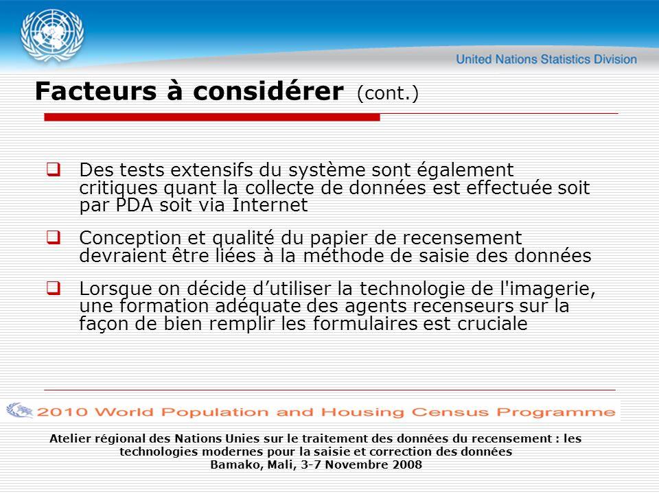 Atelier régional des Nations Unies sur le traitement des données du recensement : les technologies modernes pour la saisie et correction des données B