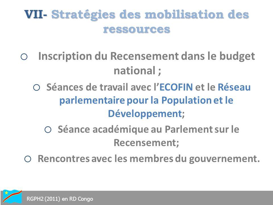 VII- Stratégies des mobilisation des ressources o Inscription du Recensement dans le budget national ; o Séances de travail avec lECOFIN et le Réseau