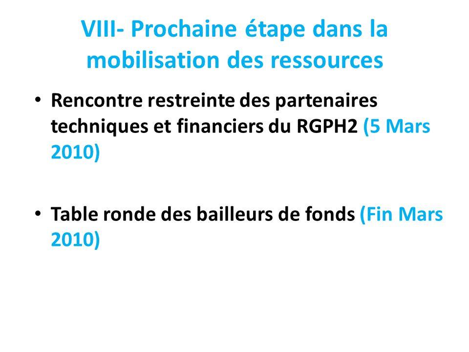 VIII- Prochaine étape dans la mobilisation des ressources Rencontre restreinte des partenaires techniques et financiers du RGPH2 (5 Mars 2010) Table r