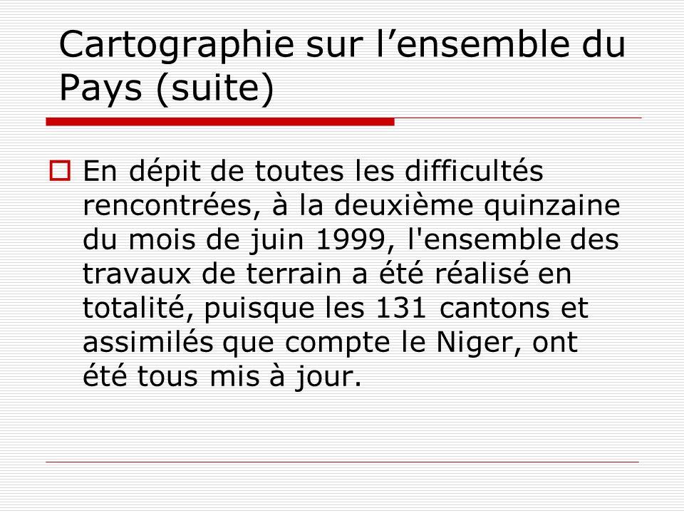 Cartographie sur lensemble du Pays (suite) En dépit de toutes les difficultés rencontrées, à la deuxième quinzaine du mois de juin 1999, l'ensemble de