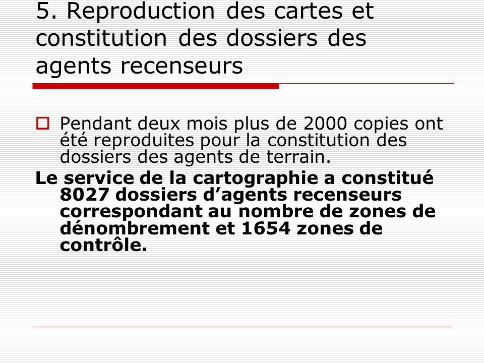 5. Reproduction des cartes et constitution des dossiers des agents recenseurs Pendant deux mois plus de 2000 copies ont été reproduites pour la consti