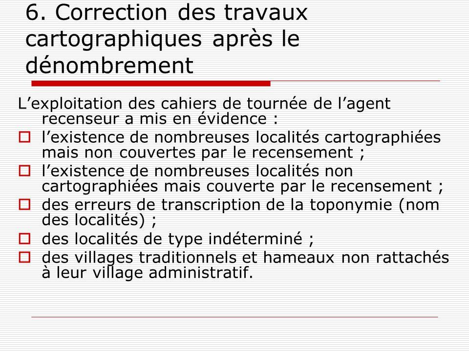 6. Correction des travaux cartographiques après le dénombrement Lexploitation des cahiers de tournée de lagent recenseur a mis en évidence : lexistenc