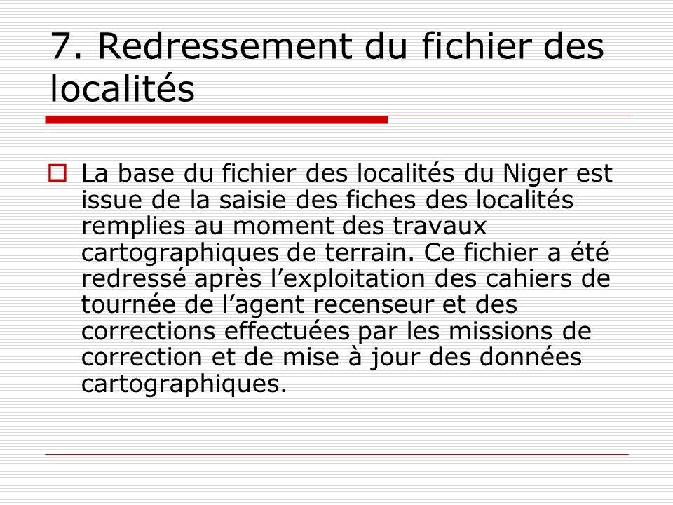 7. Redressement du fichier des localités La base du fichier des localités du Niger est issue de la saisie des fiches des localités remplies au moment
