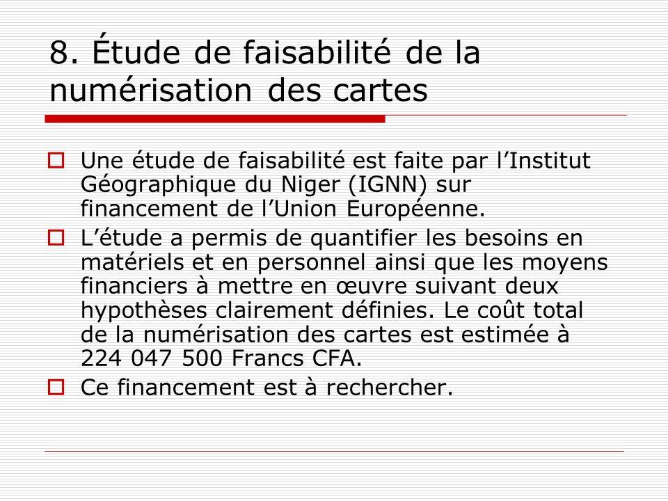 8. Étude de faisabilité de la numérisation des cartes Une étude de faisabilité est faite par lInstitut Géographique du Niger (IGNN) sur financement de