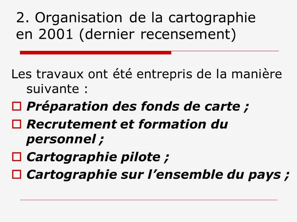 2. Organisation de la cartographie en 2001 (dernier recensement) Les travaux ont été entrepris de la manière suivante : Préparation des fonds de carte
