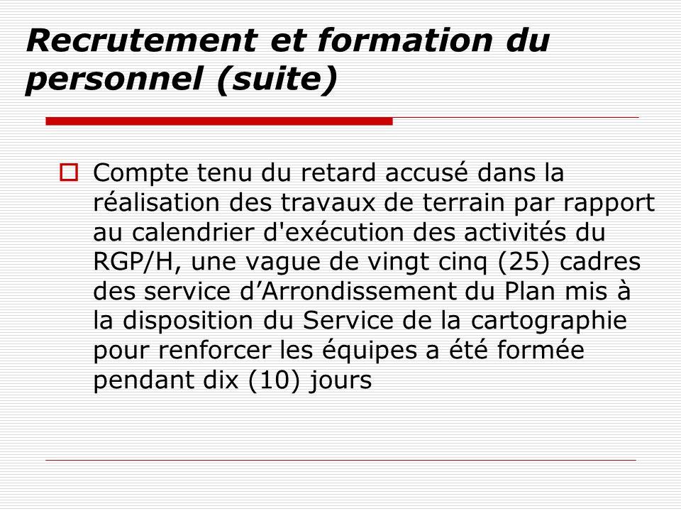 Recrutement et formation du personnel (suite) Compte tenu du retard accusé dans la réalisation des travaux de terrain par rapport au calendrier d'exéc
