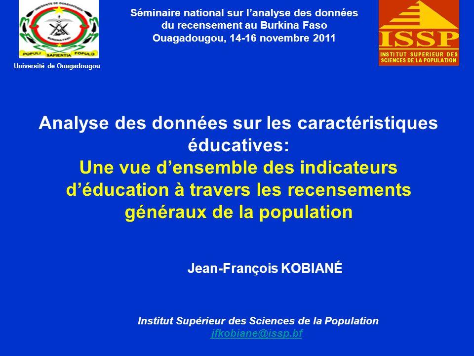 PLAN DE LA PRESENTATION Introduction 1.Indicateurs de scolarisation 2.