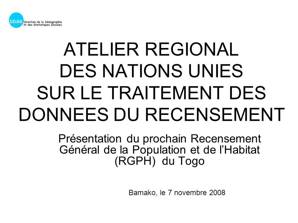 ATELIER REGIONAL DES NATIONS UNIES SUR LE TRAITEMENT DES DONNEES DU RECENSEMENT Présentation du prochain Recensement Général de la Population et de lHabitat (RGPH) du Togo Bamako, le 7 novembre 2008