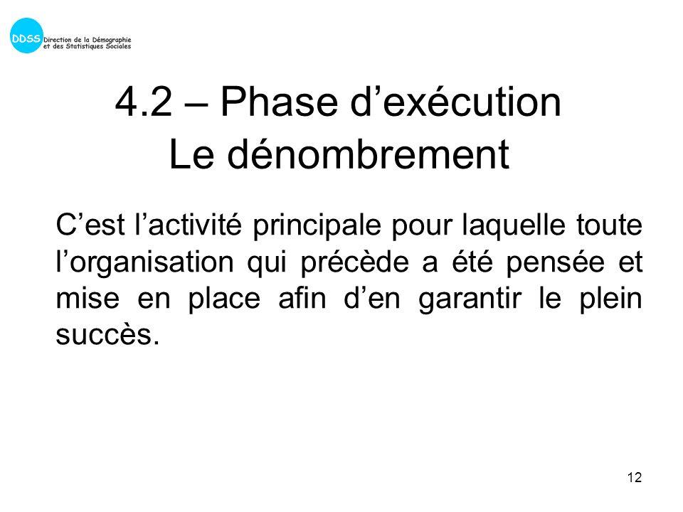 12 4.2 – Phase dexécution Le dénombrement Cest lactivité principale pour laquelle toute lorganisation qui précède a été pensée et mise en place afin den garantir le plein succès.