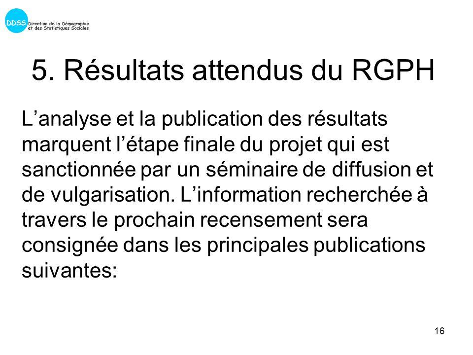 16 5. Résultats attendus du RGPH Lanalyse et la publication des résultats marquent létape finale du projet qui est sanctionnée par un séminaire de dif