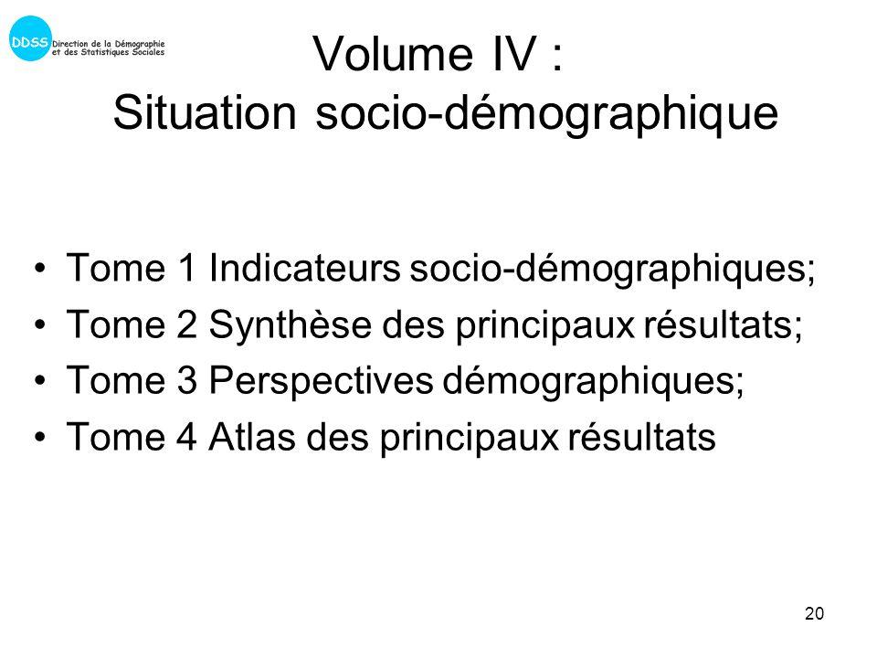 20 Volume IV : Situation socio-démographique Tome 1 Indicateurs socio-démographiques; Tome 2 Synthèse des principaux résultats; Tome 3 Perspectives démographiques; Tome 4 Atlas des principaux résultats
