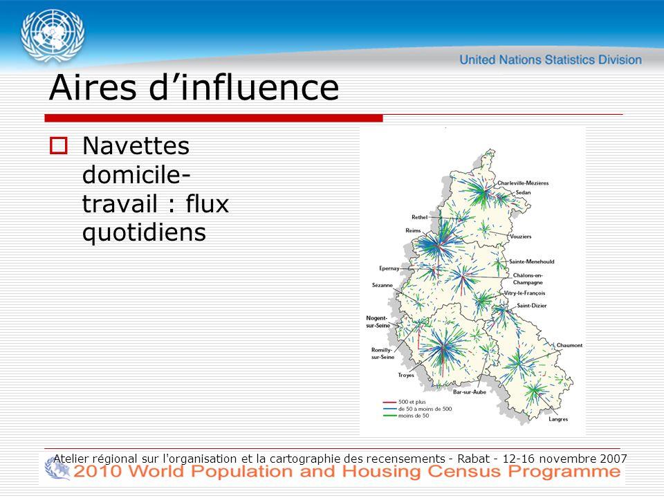 Atelier régional sur l organisation et la cartographie des recensements - Rabat - 12-16 novembre 2007 Aires dinfluence Navettes domicile- travail : flux quotidiens