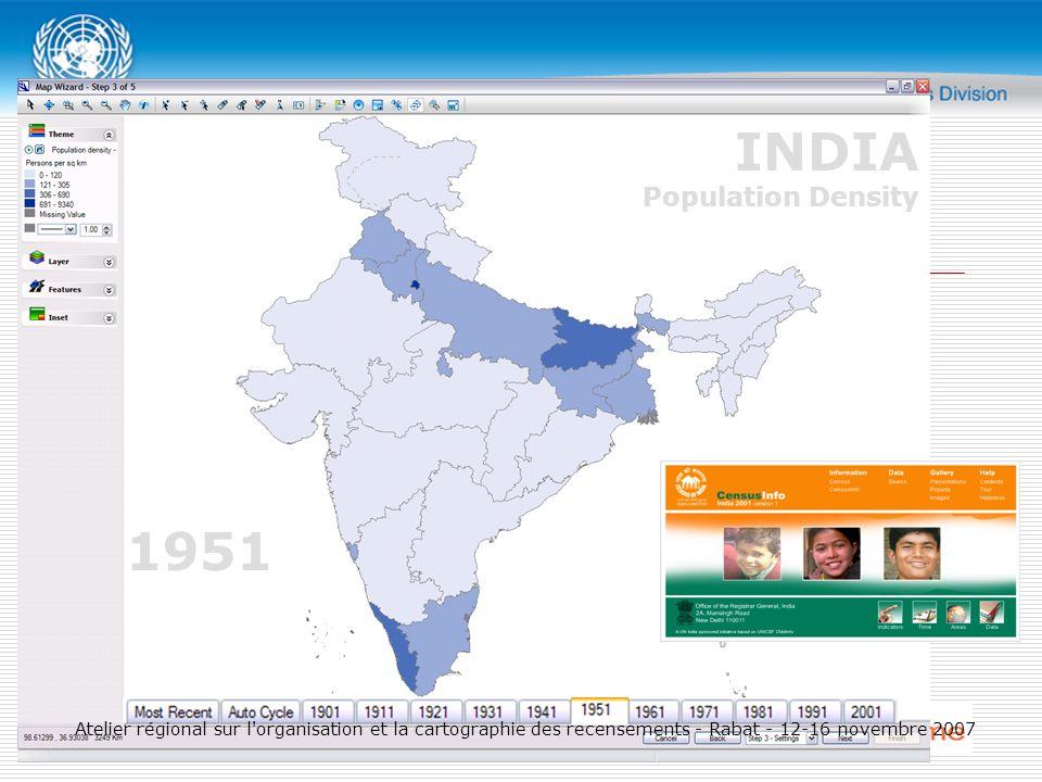 1951 INDIA Population Density Atelier régional sur l organisation et la cartographie des recensements - Rabat - 12-16 novembre 2007