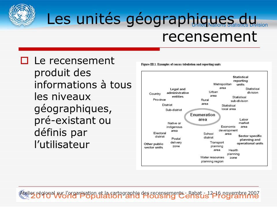 Atelier régional sur l organisation et la cartographie des recensements - Rabat - 12-16 novembre 2007 Les unités géographiques du recensement Le recensement produit des informations à tous les niveaux géographiques, pré-existant ou définis par lutilisateur