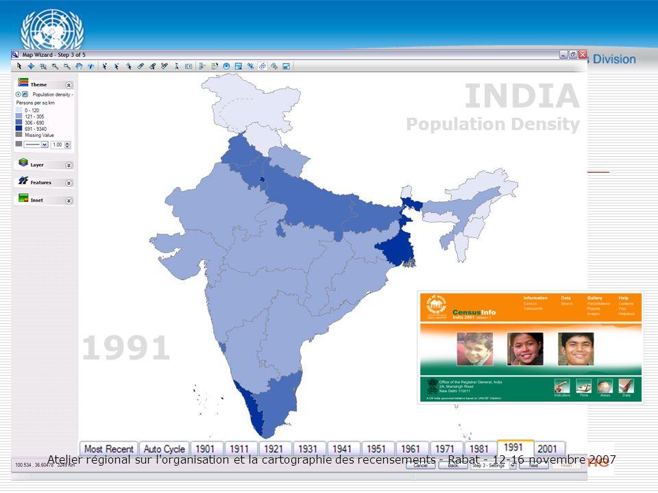 1991 INDIA Population Density Atelier régional sur l organisation et la cartographie des recensements - Rabat - 12-16 novembre 2007