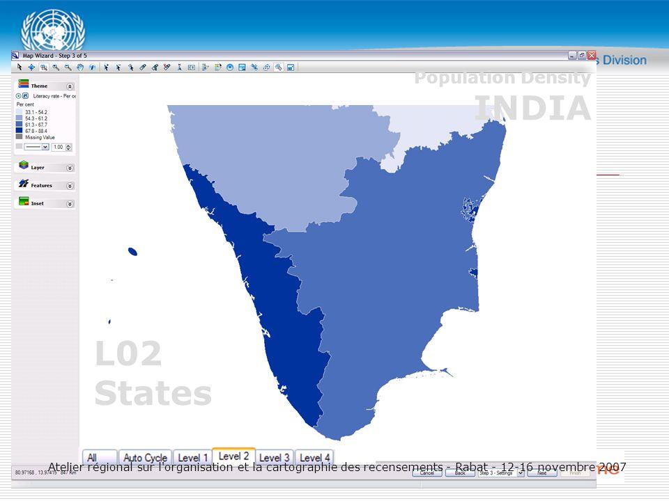 L02 States Population Density INDIA Atelier régional sur l organisation et la cartographie des recensements - Rabat - 12-16 novembre 2007