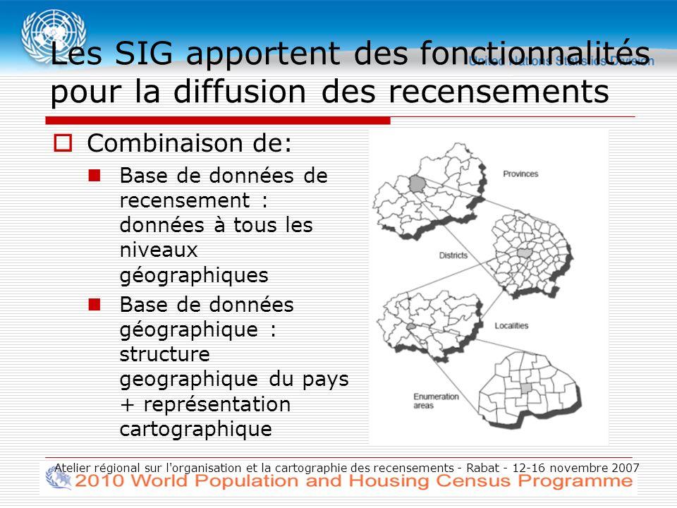 Atelier régional sur l organisation et la cartographie des recensements - Rabat - 12-16 novembre 2007 Différentes utilisation des cartes Sélection géographique Sélection directe dune zone définie par lutilisateur Délimitation des zones Buffer (Zones tampons) Aires dinfluence Modelisation : lissage spatial