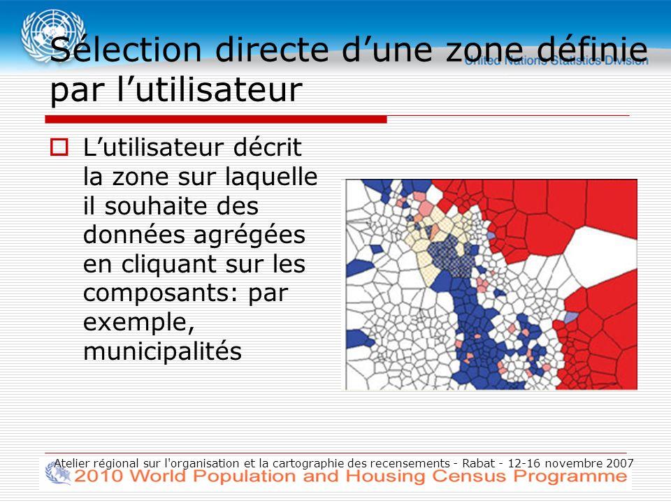 Atelier régional sur l organisation et la cartographie des recensements - Rabat - 12-16 novembre 2007 Sélection directe dune zone définie par lutilisateur Lutilisateur décrit la zone sur laquelle il souhaite des données agrégées en cliquant sur les composants: par exemple, municipalités