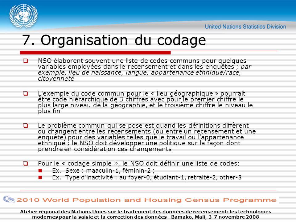 Atelier régional des Nations Unies sur le traitement des données de recensement: les technologies modernes pour la saisie et la correction des données - Bamako, Mali, 3-7 novembre 2008 7.