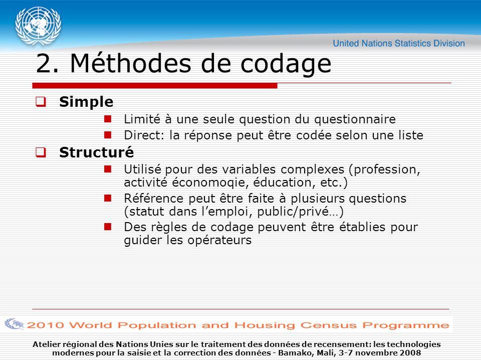 Atelier régional des Nations Unies sur le traitement des données de recensement: les technologies modernes pour la saisie et la correction des données - Bamako, Mali, 3-7 novembre 2008 2.