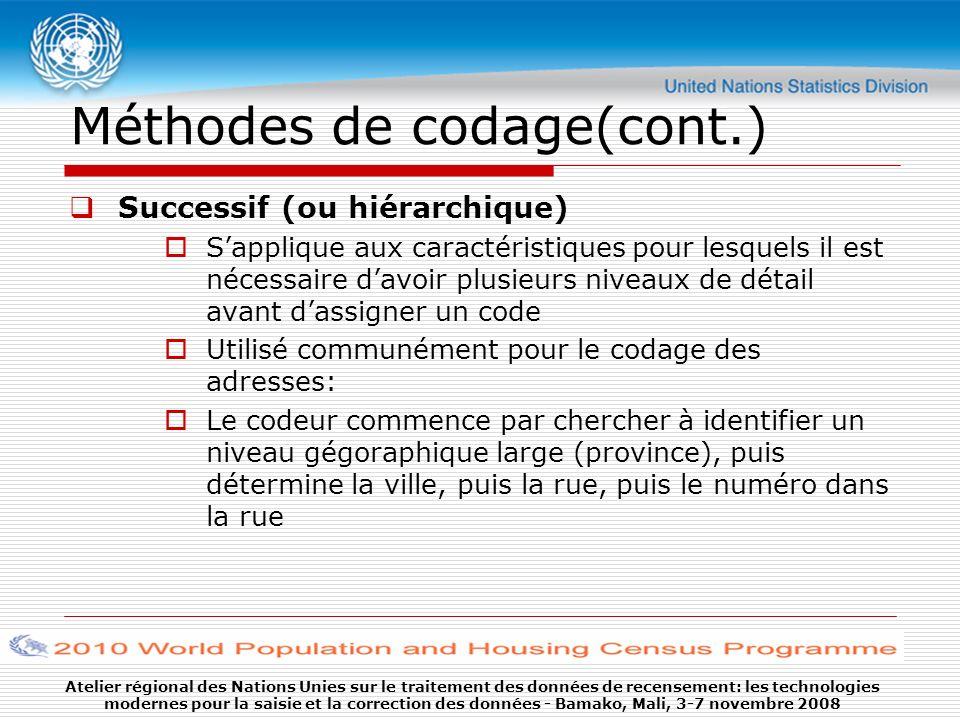 Atelier régional des Nations Unies sur le traitement des données de recensement: les technologies modernes pour la saisie et la correction des données - Bamako, Mali, 3-7 novembre 2008 3.