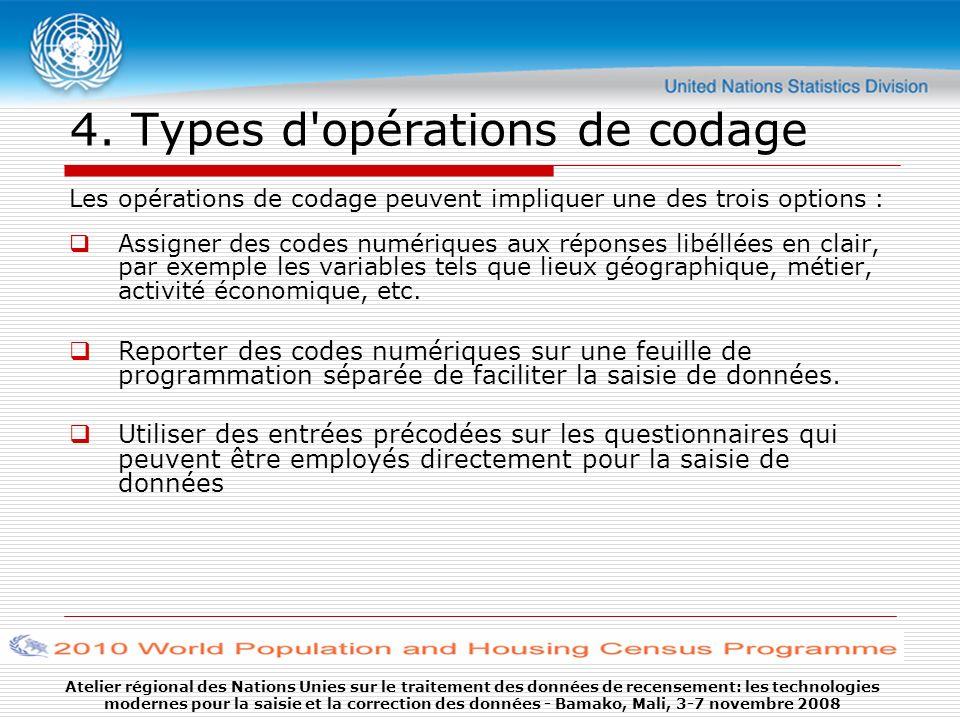 Atelier régional des Nations Unies sur le traitement des données de recensement: les technologies modernes pour la saisie et la correction des données - Bamako, Mali, 3-7 novembre 2008 4.