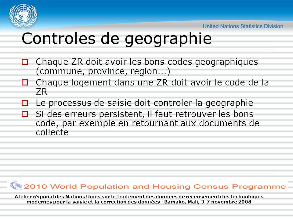 Atelier régional des Nations Unies sur le traitement des données de recensement: les technologies modernes pour la saisie et la correction des données