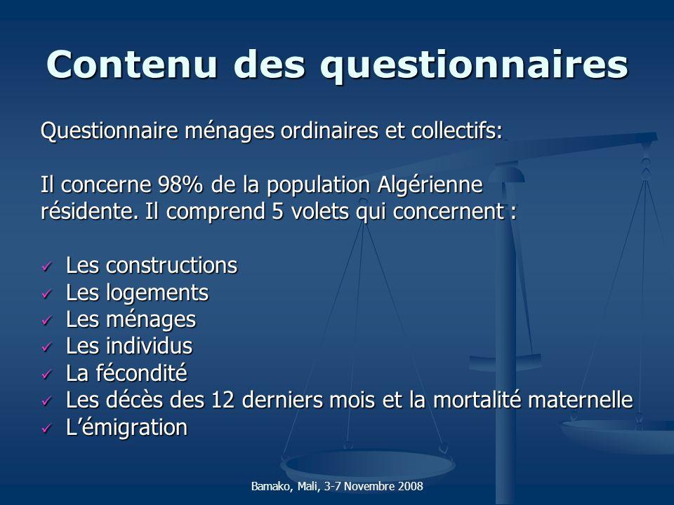 Contenu des questionnaires Questionnaire ménages ordinaires et collectifs: Il concerne 98% de la population Algérienne résidente. Il comprend 5 volets