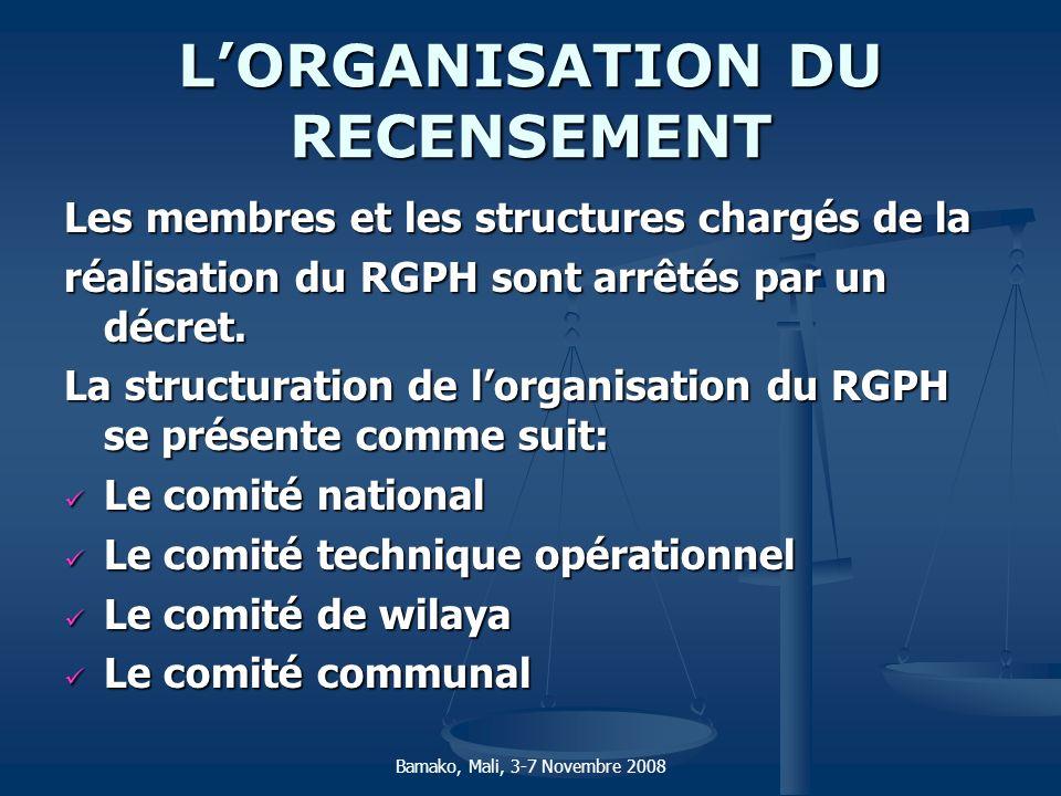 LORGANISATION DU RECENSEMENT Les membres et les structures chargés de la réalisation du RGPH sont arrêtés par un décret. La structuration de lorganisa