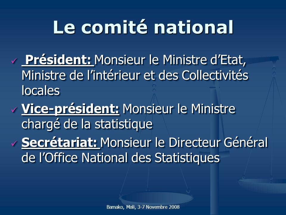 Le comité national Président: Monsieur le Ministre dEtat, Ministre de lintérieur et des Collectivités locales Président: Monsieur le Ministre dEtat, M
