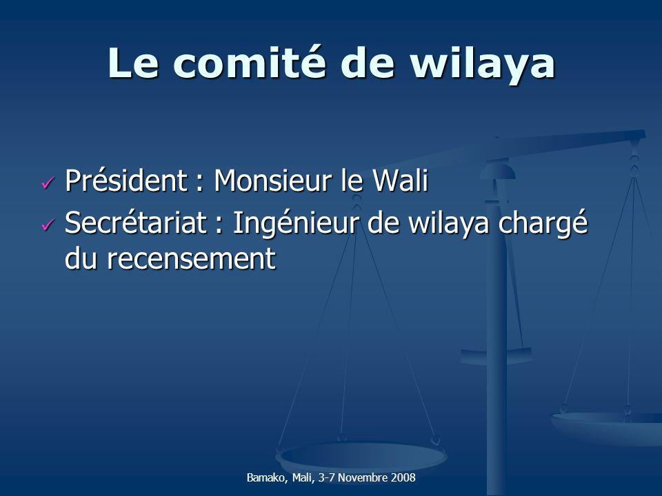 Le comité de wilaya Président : Monsieur le Wali Président : Monsieur le Wali Secrétariat : Ingénieur de wilaya chargé du recensement Secrétariat : In