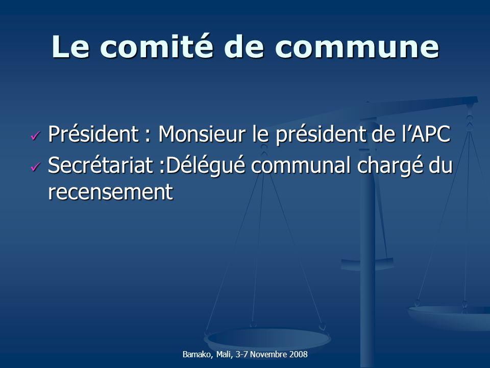 Le comité de commune Président : Monsieur le président de lAPC Président : Monsieur le président de lAPC Secrétariat :Délégué communal chargé du recen