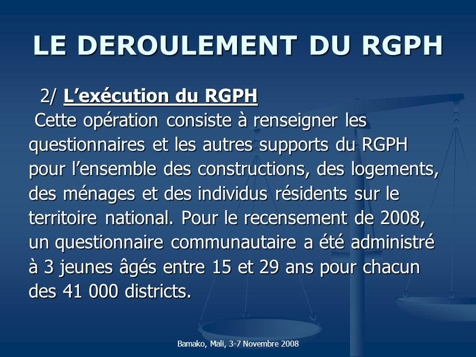 LE DEROULEMENT DU RGPH 2/ Lexécution du RGPH 2/ Lexécution du RGPH Cette opération consiste à renseigner les Cette opération consiste à renseigner les