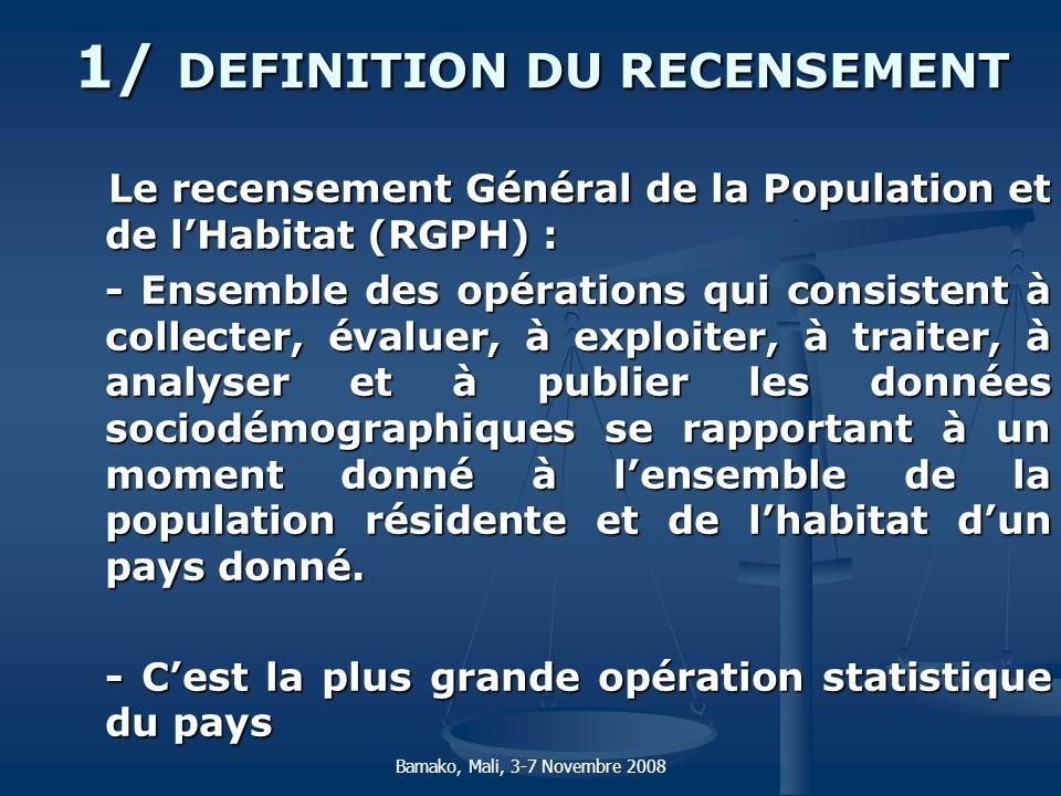 1/ DEFINITION DU RECENSEMENT Le recensement Général de la Population et de lHabitat (RGPH) : Le recensement Général de la Population et de lHabitat (R