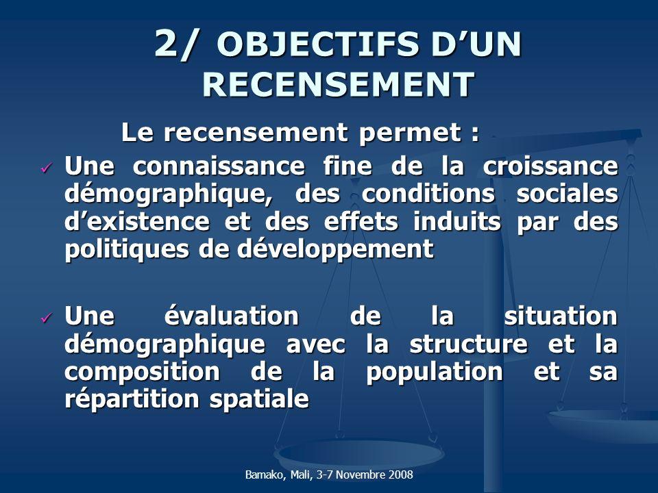 2/ OBJECTIFS DUN RECENSEMENT Le recensement permet : Le recensement permet : Une connaissance fine de la croissance démographique, des conditions soci