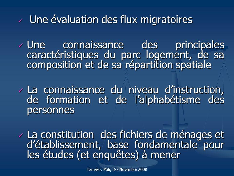 Une évaluation des flux migratoires Une évaluation des flux migratoires Une connaissance des principales caractéristiques du parc logement, de sa comp