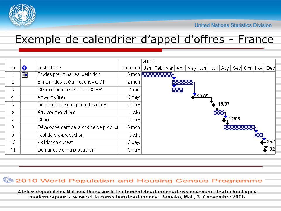 Atelier régional des Nations Unies sur le traitement des données de recensement: les technologies modernes pour la saisie et la correction des données - Bamako, Mali, 3-7 novembre 2008 Exemple de calendrier dappel doffres - France
