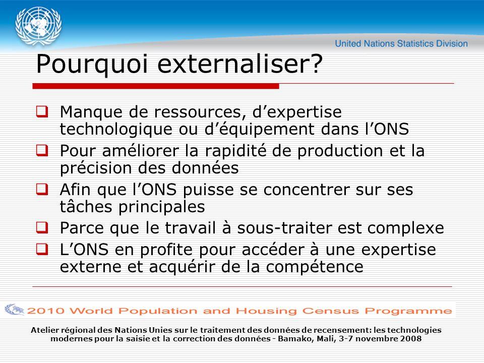 Atelier régional des Nations Unies sur le traitement des données de recensement: les technologies modernes pour la saisie et la correction des données - Bamako, Mali, 3-7 novembre 2008 Pourquoi externaliser.