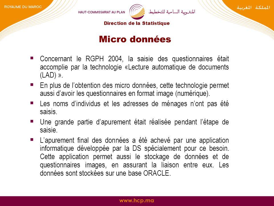 www.hcp.ma Micro données Concernant le RGPH 2004, la saisie des questionnaires était accomplie par la technologie «Lecture automatique de documents (L