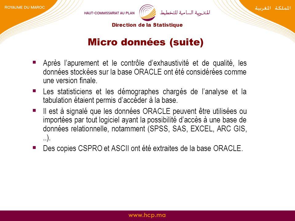 www.hcp.ma Micro données (suite) Après lapurement et le contrôle dexhaustivité et de qualité, les données stockées sur la base ORACLE ont été considér