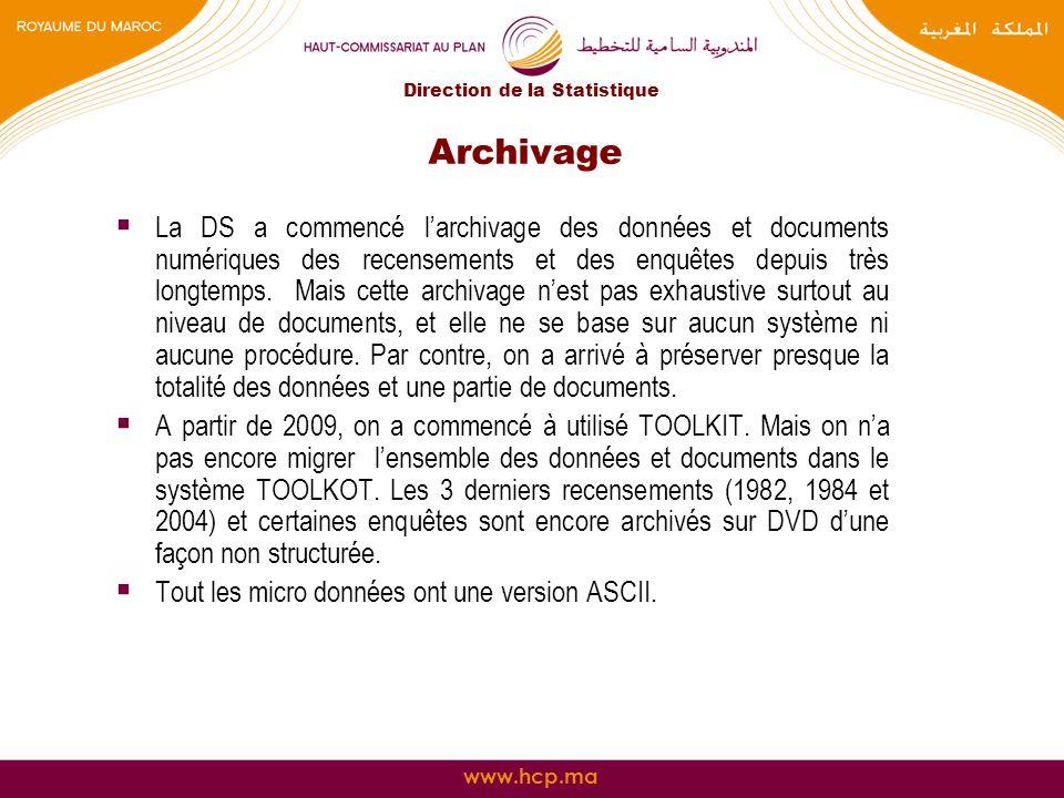 www.hcp.ma Archivage La DS a commencé larchivage des données et documents numériques des recensements et des enquêtes depuis très longtemps. Mais cett