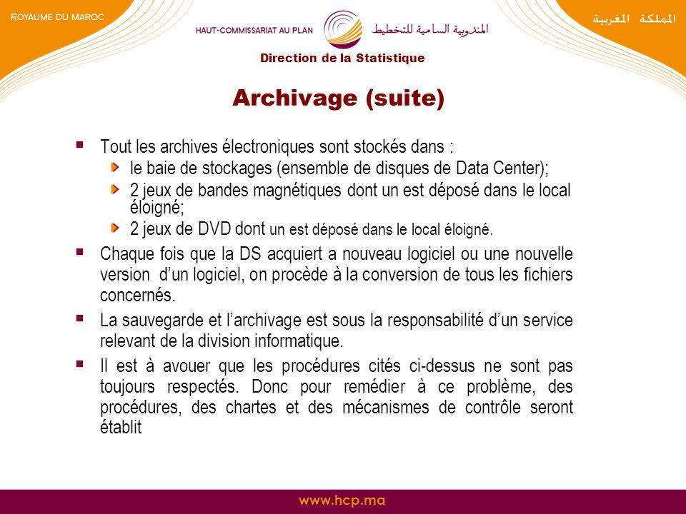 www.hcp.ma Archivage (suite) Tout les archives électroniques sont stockés dans : le baie de stockages (ensemble de disques de Data Center); 2 jeux de