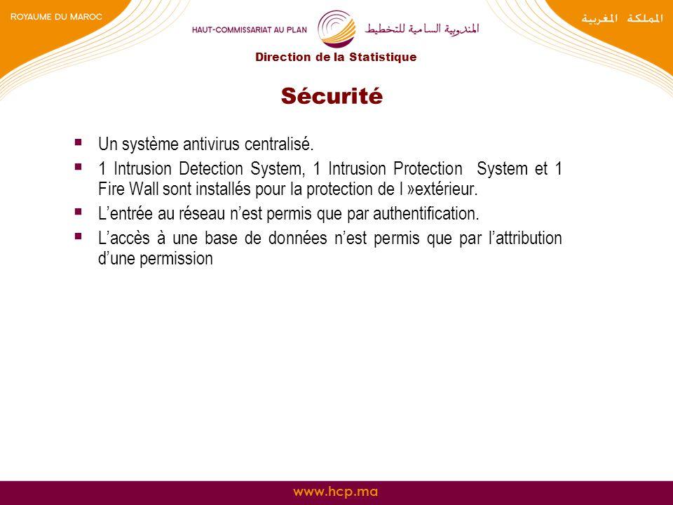 www.hcp.ma Sécurité Un système antivirus centralisé. 1 Intrusion Detection System, 1 Intrusion Protection System et 1 Fire Wall sont installés pour la