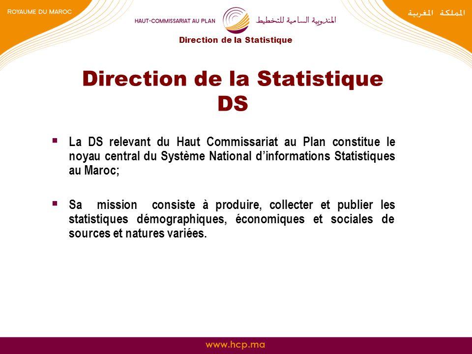 www.hcp.ma Direction de la Statistique DS La DS relevant du Haut Commissariat au Plan constitue le noyau central du Système National dinformations Sta