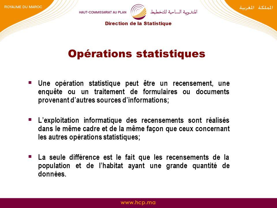www.hcp.ma Opérations statistiques Une opération statistique peut être un recensement, une enquête ou un traitement de formulaires ou documents proven
