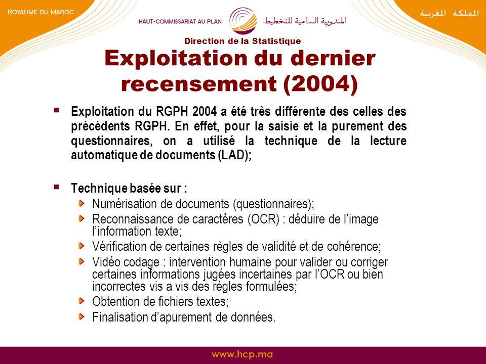 www.hcp.ma Exploitation du dernier recensement (2004) Exploitation du RGPH 2004 a été très différente des celles des précédents RGPH. En effet, pour l